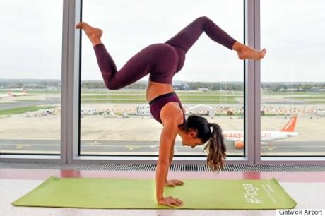 Gatwick airport teams up with celebrity yoga guru, Shona Vertue,