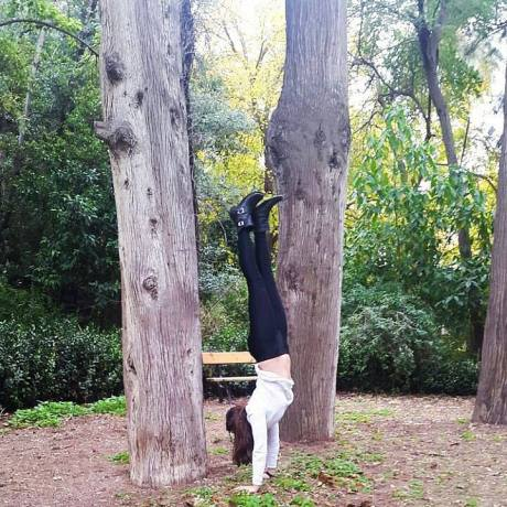 handstand in national garden of Athens